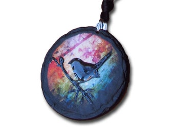 Single bird on a branch multicolored slate necklace