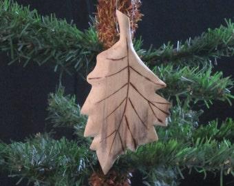 Hand Carved Wood Oak Leaf Ornament