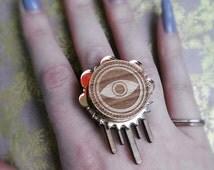 Evil Eye Djinn Wooden Ring