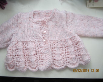 Infant Girls Handknit  Lacey sweater with scalloped edge and matching Bonnet color pale pink     size 0-3 mos