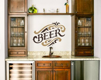FREE SHIPPING within the US! 2 Color Beer Vinyl Wall Graphic Decal Sticker ~ Item 0194