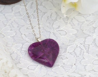 Purple heart pendant necklace, wearable enamel art,  real silver chain, gift for her unique