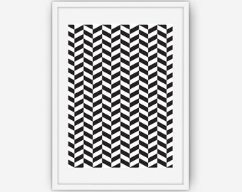 Black and White Chevron Wall Art, Black and White Print, Abstract Wall Art, Wall Art, Printable, Instant Download