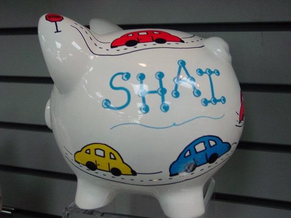 Boy cars hand painted ceramic piggy bank - Ceramic piggy banks for boys ...