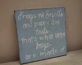 11x11 frogs and snails and puppy dog tails distressed wooden sign