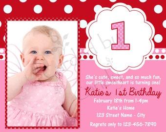 Pink & Red Polka Dot 1st Birthday Party Invitation