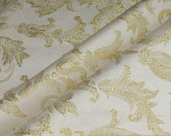Fabric polyester Jacquard ornament ecru gold Lurex brocate baroque rococo width 300 cm