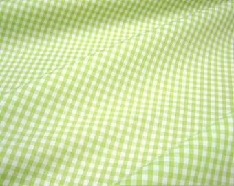Fabric pure cotton Vichy check light green white 2,5 mm kiwi