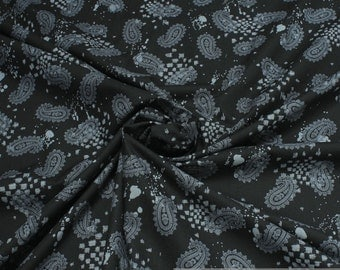 Fabric pure cotton black Paisley grey anthracite left side roughened