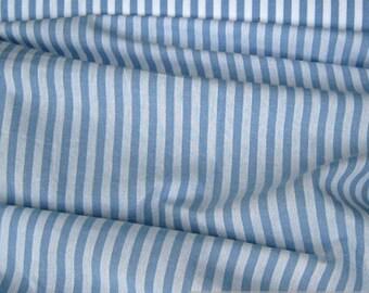 Fabric pure cotton farmer's stripe light blue white 1 cm