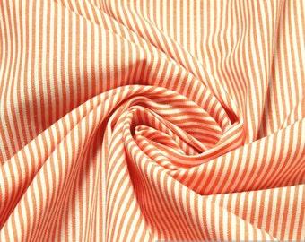 Fabric pure cotton match stripe orange white 1,5 mm small stripe