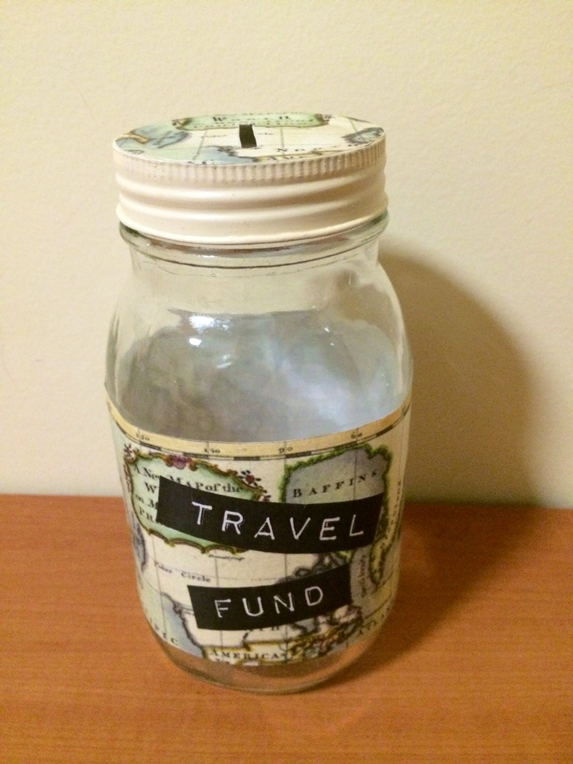 Travel fund money glass jar with coin slot lid handmade for Cool money jars