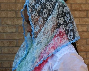 Baby Blue Mantilla - Baby Blue Veil-- Blue Mantilla Chapel Veil Headcovering -- Church Veil