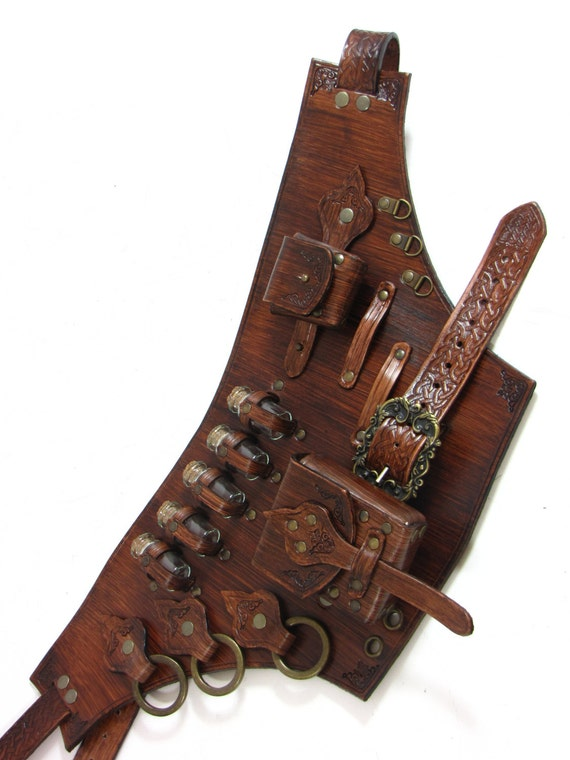 leather belt with many special iteams for larp or