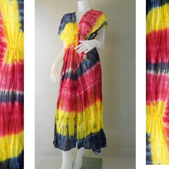 Boho Hippie Colorful Thai Tie Dye Cotton V-Neck Long Kimono Women Summer Dress S-L (TD 328)