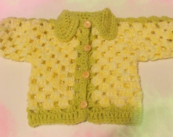 Sweater,cardigan,layette, crochet - Baby sweater,soft wool, mod.SOLE