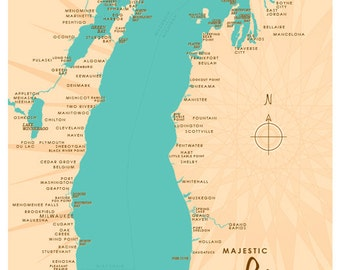 Lake Michigan Map Print
