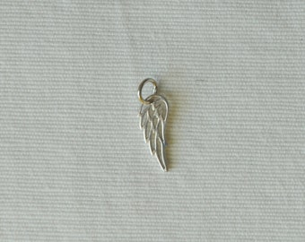 Sterling Silver, Angel Wing, Double Sided, Tiny Charm, Tiny Pendant, 6x14.3mm, Closed Jump Ring, Fast Shipping from USA