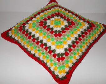 Handmade granny square cushion/ pillow.