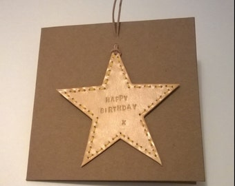 Birthday Card. Handmade Leather Card. Hand embossed and punched. Embossed message can be personalised..