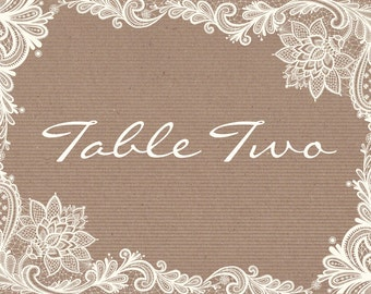 Rustic Kraft and White Vintage Lace Wedding Table Name and Number Cards