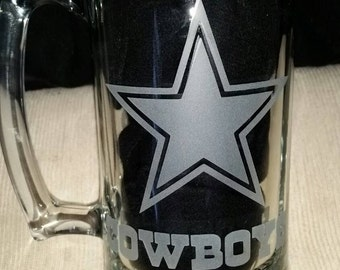 Dallas Cowboys Sand Carved Glass Sport Mug