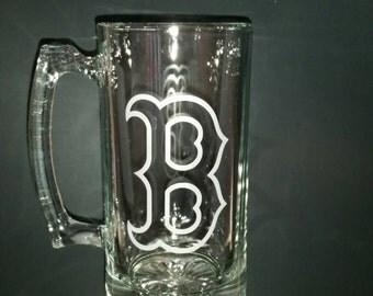 Boston Red Sox Sand Carved Glass Sport Mug 26.5 Oz