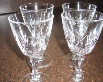 Set of 4 mini cut glass cordial glasses vintage