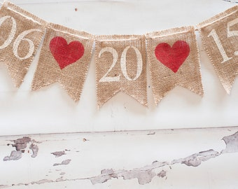 Save The Date Burlap Banner, Engagement Banner, Wedding Photo Prop, Engagement Photo Prop, B029