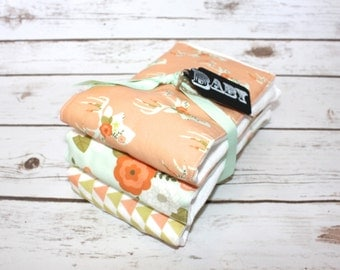 Modern Baby Burp Cloth~ Set of 3~Floral Stag~ Baby Shower Gift