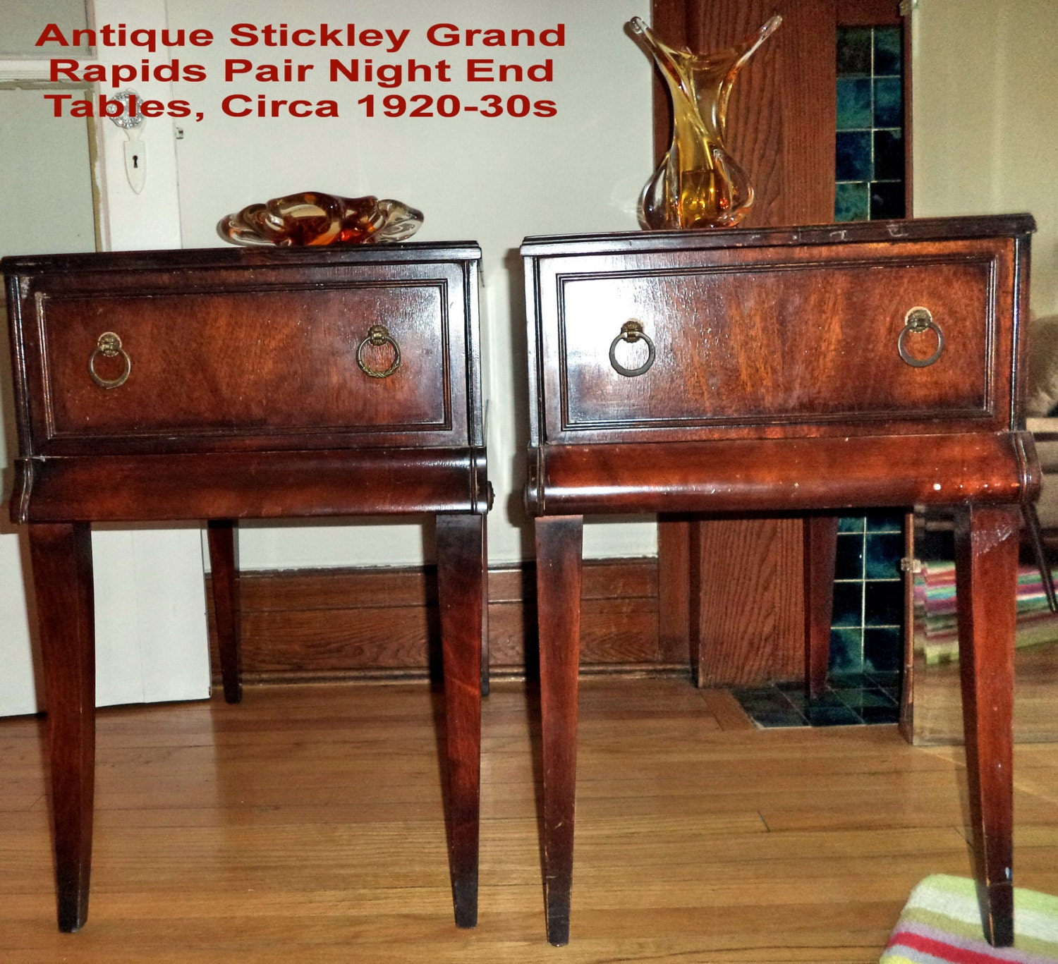 🔎zoom - Pair STICKLEY Antique Tables Grand Rapids Night End Tables