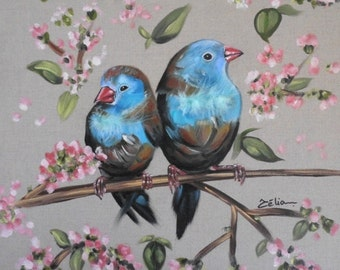 """Table """"Blue birds"""" - Oil painting on canvas with feathers 40x40cm"""