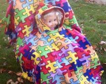Puzzle Print Toddler Car Seat Poncho
