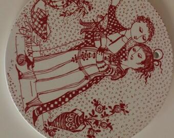 Bjorn Wiinblad plate, by Nymolle, Denmark. November - OPTIMISM