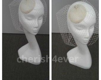Cream Birdcage Veil