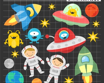 Fun Outer Space Clip Art, Astronauts Clip Art, Spaceships and Space Rockets Printables, Alien Clip Art, Digital Art, Royalty Free