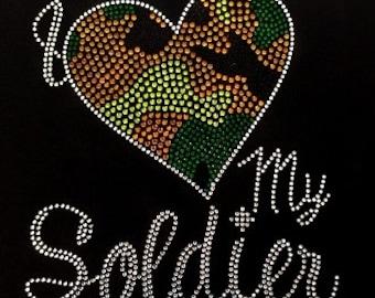 I love my soldier bling rhinestone shirt!