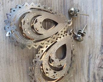 Boho Filigree Earrings - Brass Jewelry - Bohemian Jewelry