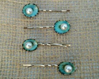 Seashell Hair Accessories, Limpet Shell Bobby Pins - Set of 4 Seashell Hair Clips, Beach Wedding, Mermaid Hair