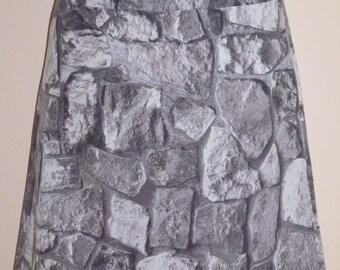 Stones print skirt, A-line skirt, grey, size EU 38/40 (USA 8/10, UK 10/12), cotton, zipper