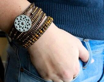 5x wrap leather bracelet w/ copper nuggets
