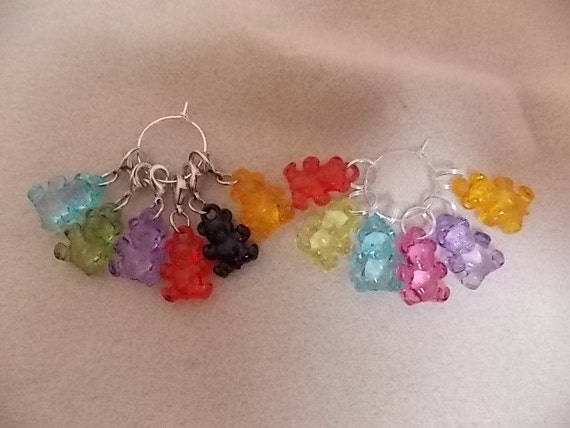 Crochet Stitch Markers : Crochet or Knitting Stitch Markers Teddy Bears Teddies Set of 6