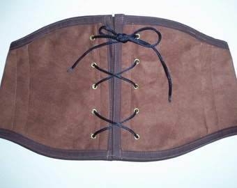Suede Like Under Bust Corset or Waist Chincher for Renaissance Pirate or Steampunk Costumes