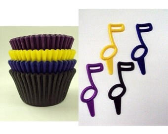 Music Note Picks with Assorted Color Baking Cups