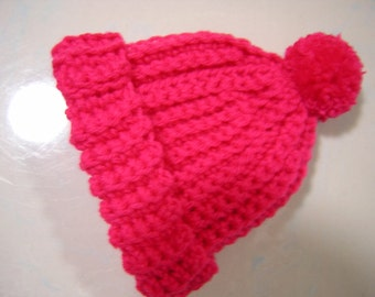 Bright Baby Red / Pink Crochet Baby Hat - Fits Newborn to Three Months Old – Bright Pink Baby Hat - Winter Hat - READY TO SHIP