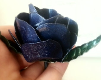 Steel Glitter Painted Rose - Hand crafted handmade flowers!