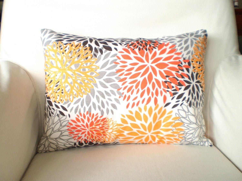 Orange And Gray Decorative Pillows : SALE Orange Gray Pillow Covers Decorative by PillowCushionCovers