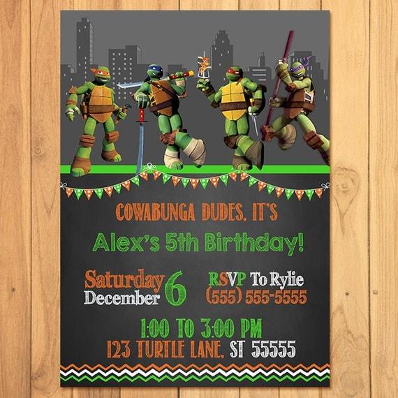 Teenage Mutant Ninja Turtles Invitation Chalkboard *TMNT Birthday * TMNT Printables * TMNT Invite * Teenage Mutant Ninja Turles Party Favors