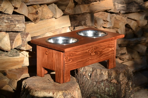 Raised Dog Feeder Rustic Wood Dog Bowl Stand By Bluelinegarage