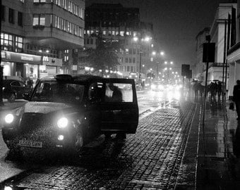 London photography, London print, London poster, taxi, cab, black cab, night photography, rain, black and white, London wall art, decor